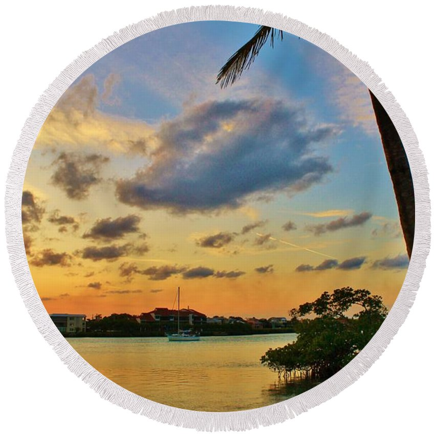 Jupiter Island Round Beach Towel featuring the photograph Tree In The Water by Catie Canetti