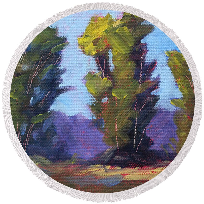 Abstract Round Beach Towel featuring the painting Tree Line by Nancy Merkle