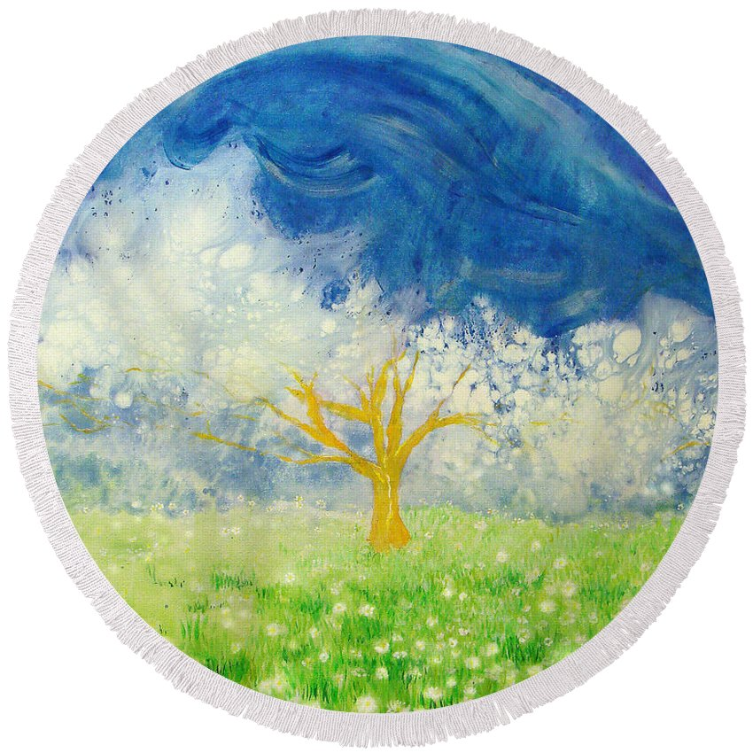 Nature Round Beach Towel featuring the painting Tree Of Life by Ashleigh Dyan Bayer