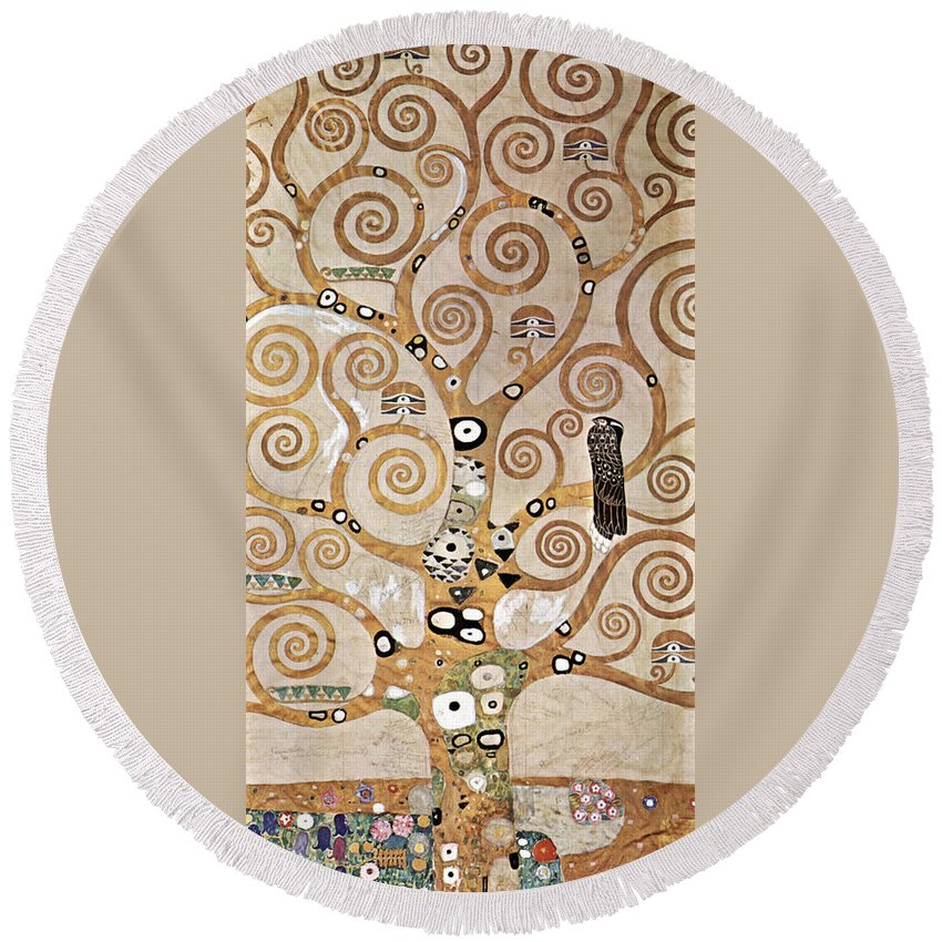 Gustav Klimt Round Beach Towel featuring the painting Tree Of Life - Lebensbaum by Masterpieces Of Art Gallery