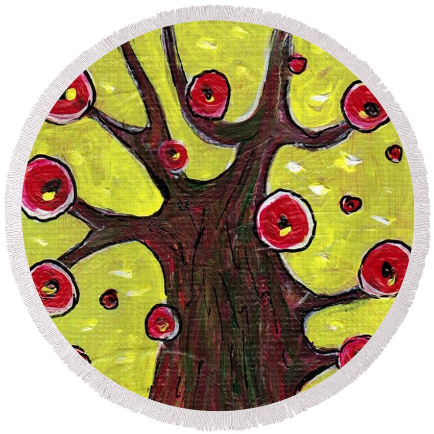 Abstract Round Beach Towel featuring the painting Tree Sentry by Anastasiya Malakhova