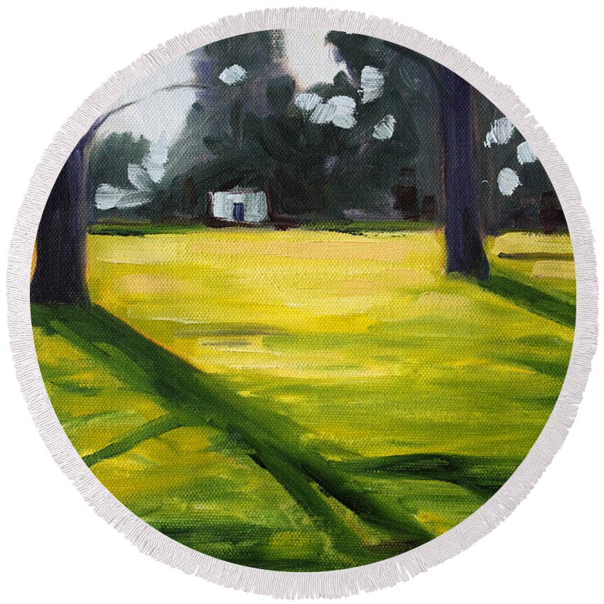 Landscape Round Beach Towel featuring the painting Tree Shadows by Nancy Merkle