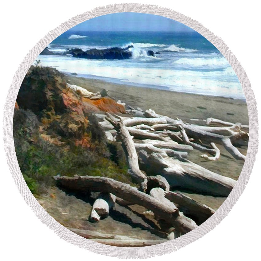 Landscape Round Beach Towel featuring the painting Tree Skeletons At Ocean's Edge by Elaine Plesser
