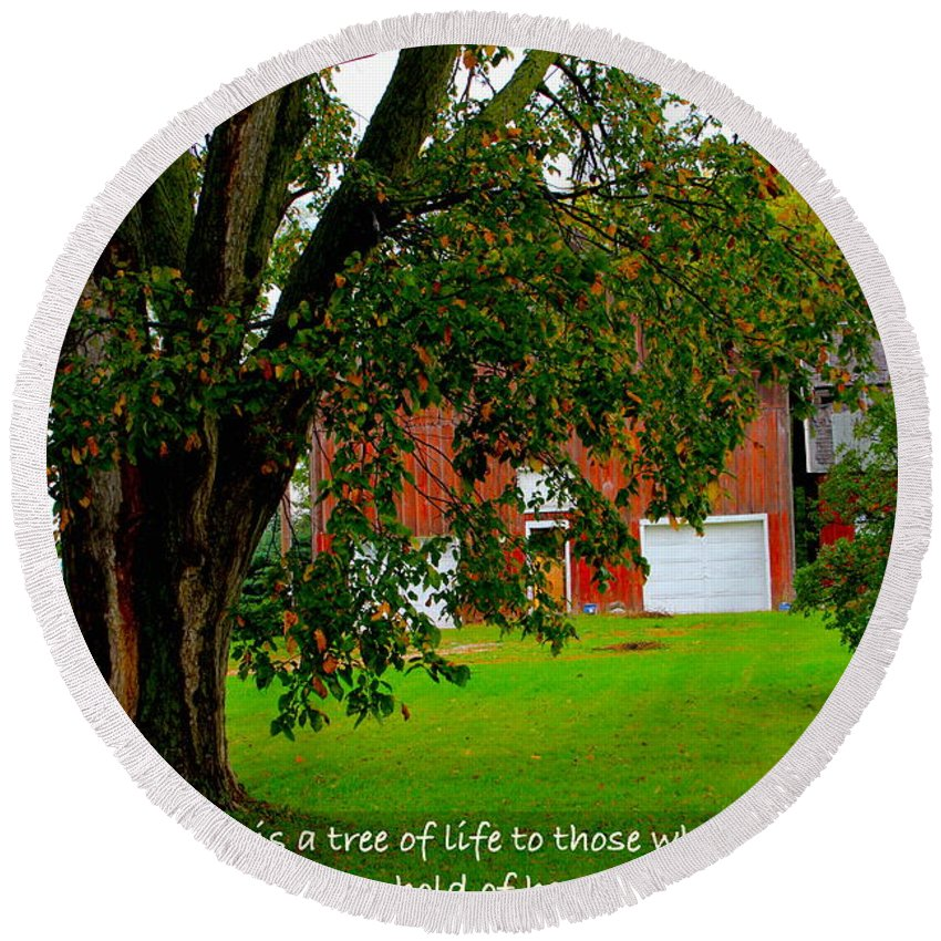 #barn Round Beach Towel featuring the photograph Tree With Scripture by Debbie Nobile