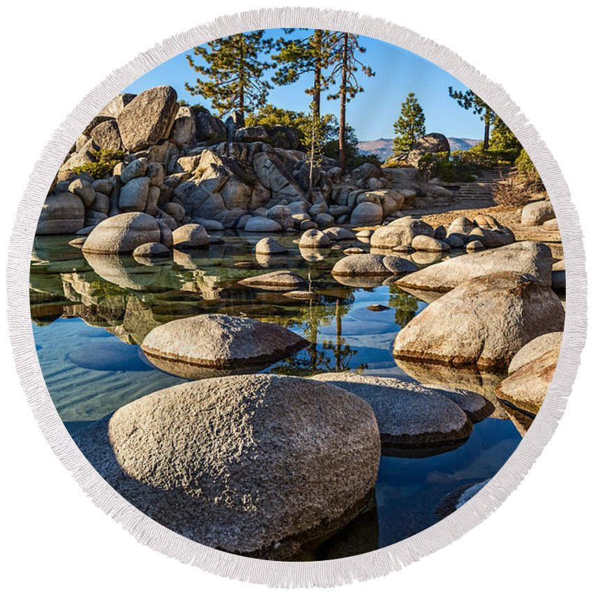 Sand Harbor Round Beach Towel featuring the photograph Trees And Rocks by Jamie Pham