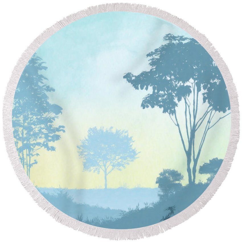 Romantic Round Beach Towel featuring the painting Trees Everywhere by Anthony Mwangi