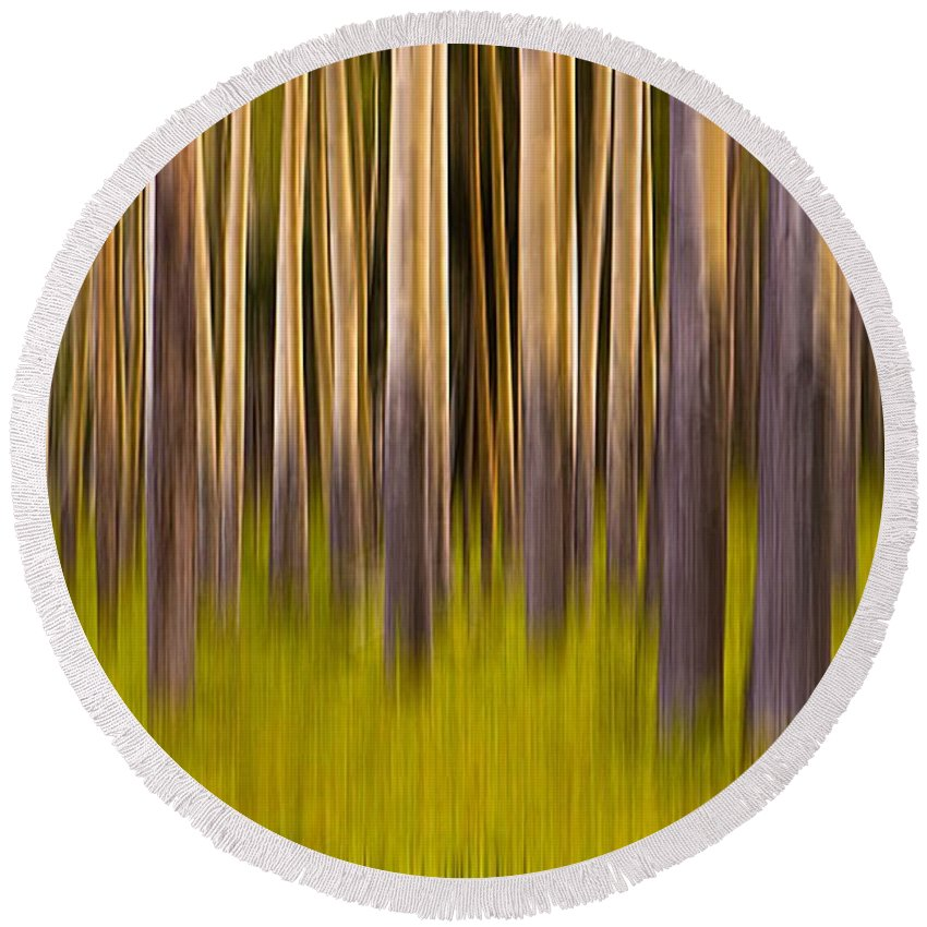 Digital Art Round Beach Towel featuring the digital art Trees by Jerry Fornarotto