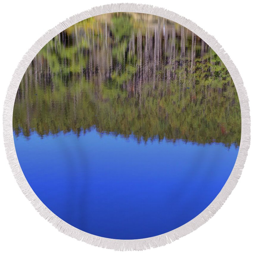 Trees Round Beach Towel featuring the photograph Treflections by Alan Look