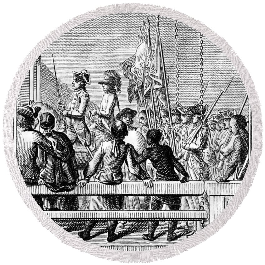 1776 Round Beach Towel featuring the photograph Trenton: Prisoners, 1776 by Granger