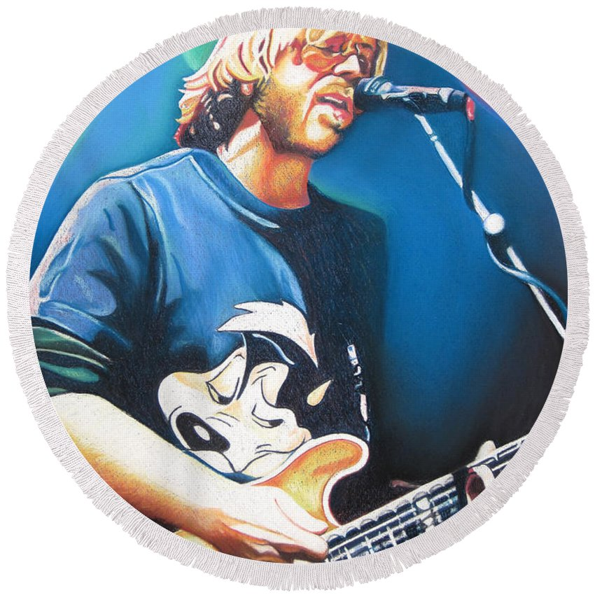 Phish Round Beach Towel featuring the drawing Trey Anastasio And Lights by Joshua Morton