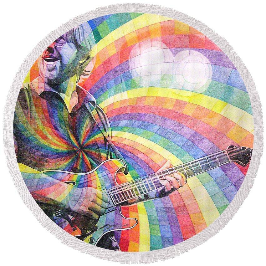 Phish Round Beach Towel featuring the drawing Trey Anastasio Rainbow by Joshua Morton