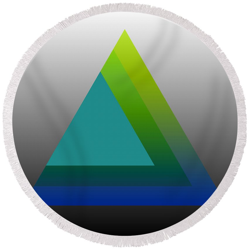 Digital-art Round Beach Towel featuring the digital art Triangle Abstract Green Blue by Mary Clanahan