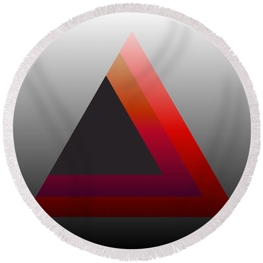Digital-art Round Beach Towel featuring the digital art Triangle Abstract Red Grey by Mary Clanahan