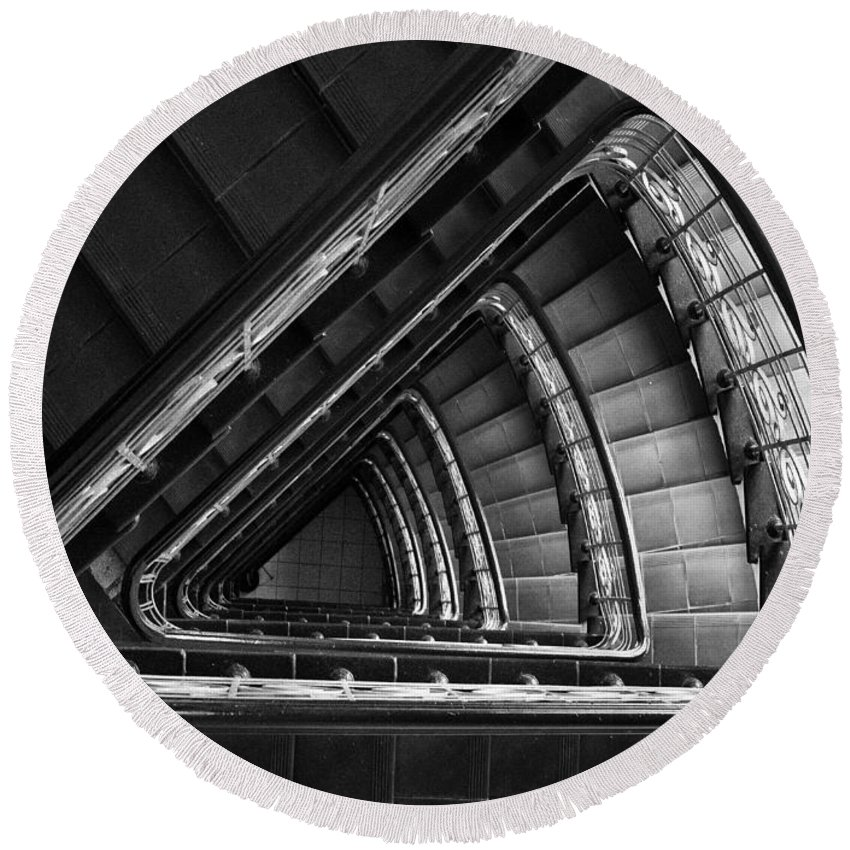 Interior View Round Beach Towel featuring the photograph Triangle Staircaise In Bw by Jaroslaw Blaminsky