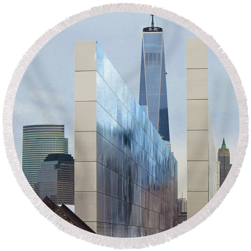 Empty Sky Memorial Nj Round Beach Towel featuring the photograph Tribute To Sept 11 by Regina Geoghan