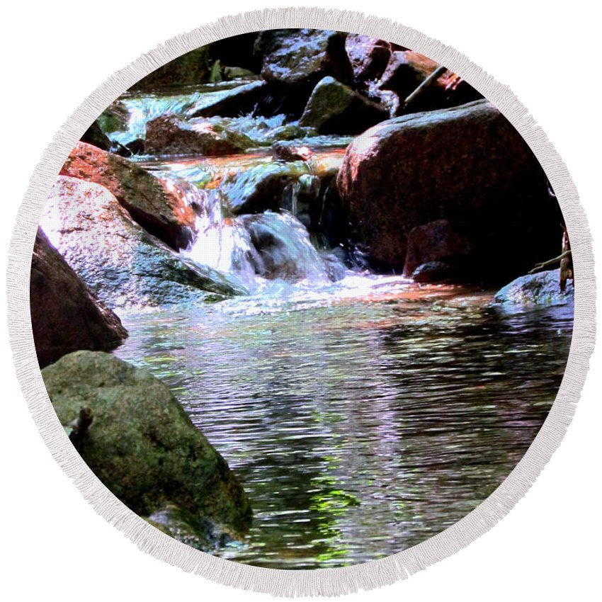 Water Round Beach Towel featuring the photograph Trickle Down The Mountain by Elizabeth Dow