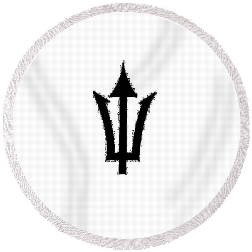 Trident Round Beach Towel featuring the digital art Trident by Frederick Holiday