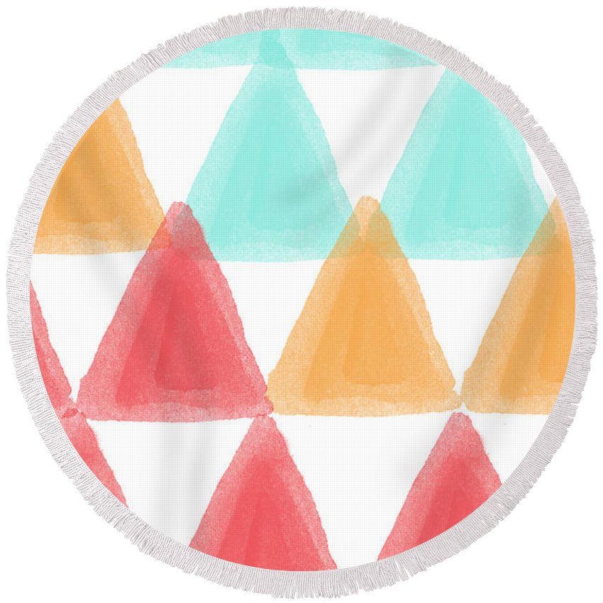 Triangles Round Beach Towel featuring the painting Trifold- Colorful Abstract Pattern Painting by Linda Woods