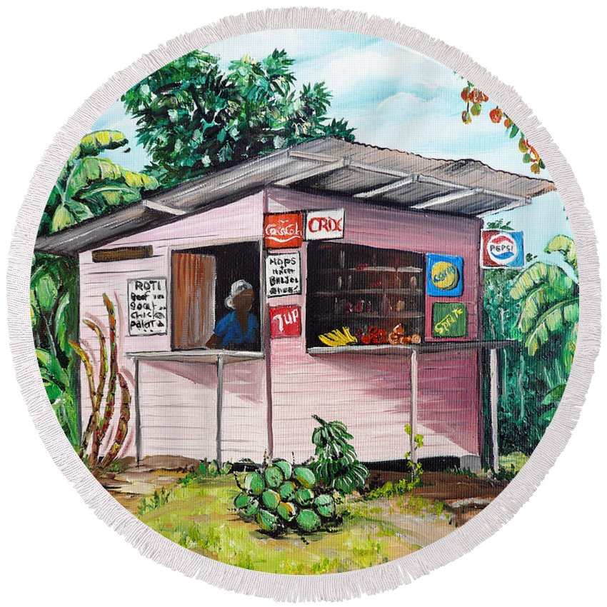 Shop Painting Round Beach Towel featuring the painting Trini Roti Shop by Karin Dawn Kelshall- Best