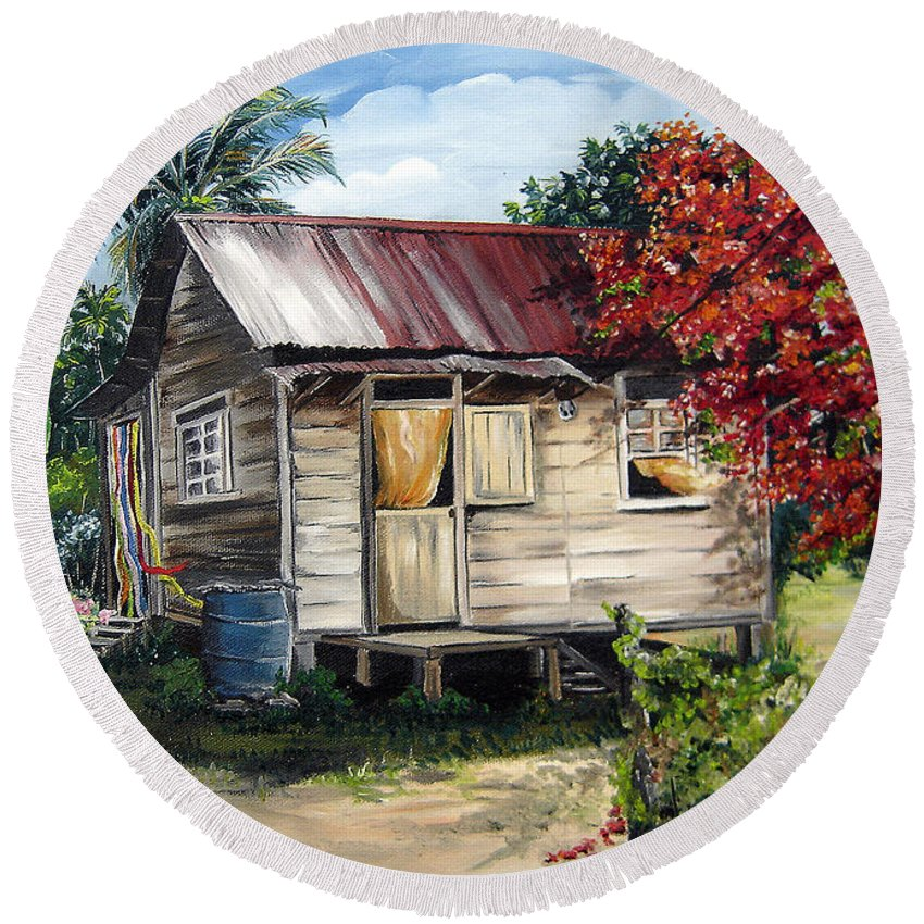 Landscape Paintings Tropical Paintings Trinidad House Paintings House Paintings Country Painting Trinidad Old Wood House Paintings Flamboyant Tree Paintings Caribbean Paintings Greeting Card Paintings Canvas Print Paintings Poster Art Paintings Round Beach Towel featuring the painting Country Life by Karin Dawn Kelshall- Best
