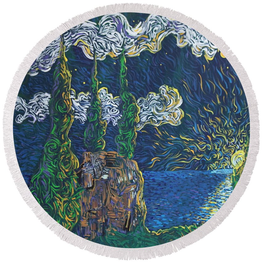 Landscape Round Beach Towel featuring the painting Trinity And I by Stefan Duncan