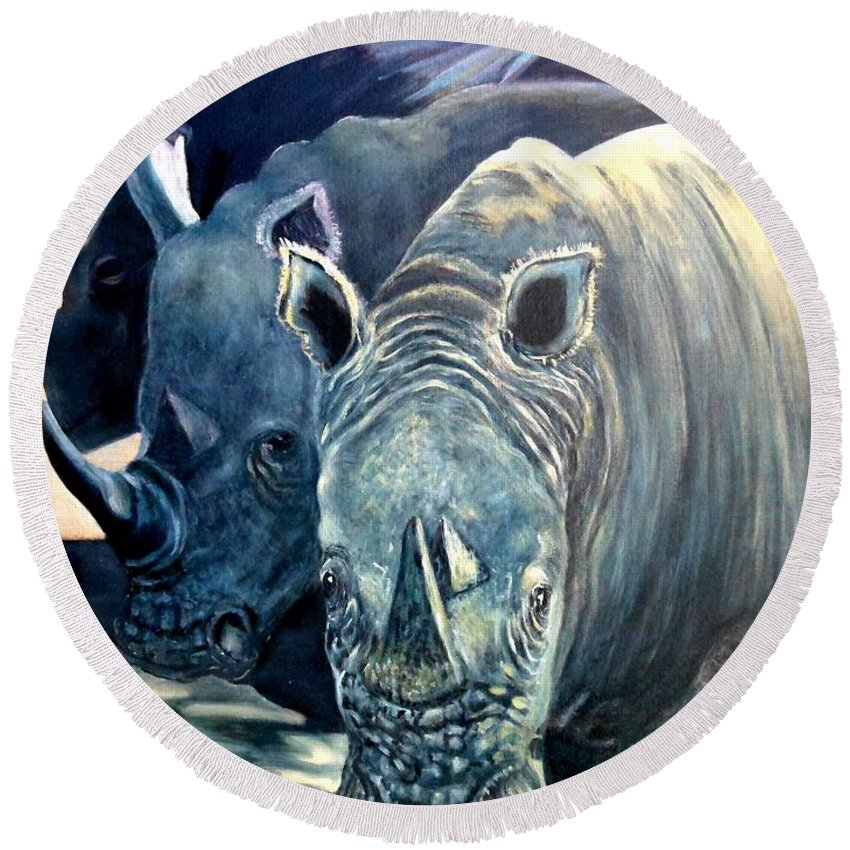 Rhino Round Beach Towel featuring the painting Trio Of Rhino by Caroline Street