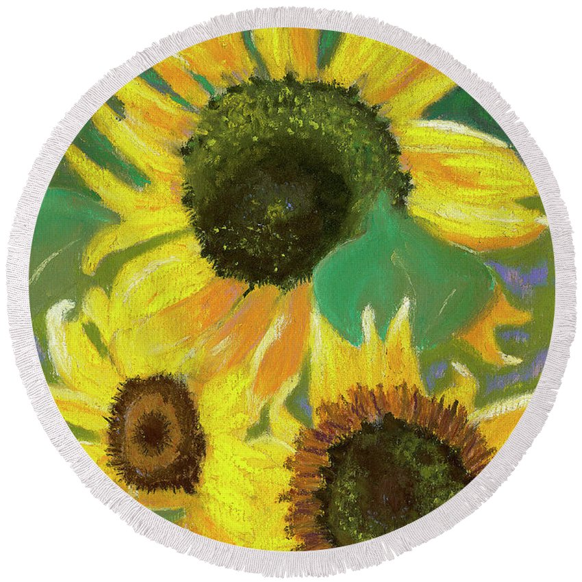 Sunflowers Round Beach Towel featuring the painting Triple Gold by Arlene Crafton