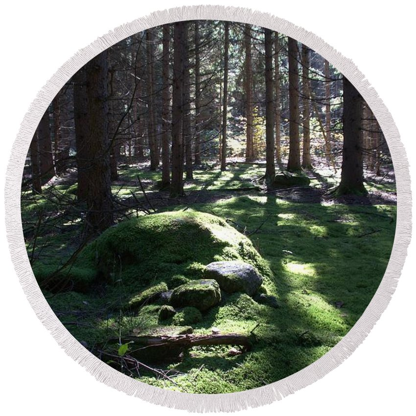 Forest Round Beach Towel featuring the photograph Troll's Grave by Valerie Kirkwood