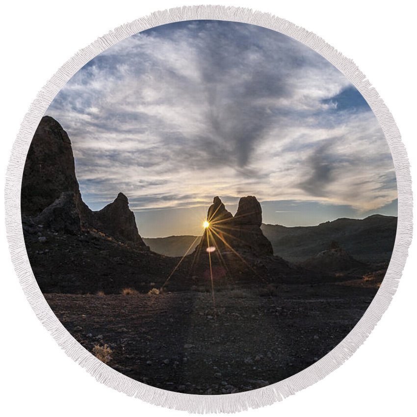 California Round Beach Towel featuring the photograph Trona Sunburst by Cat Connor