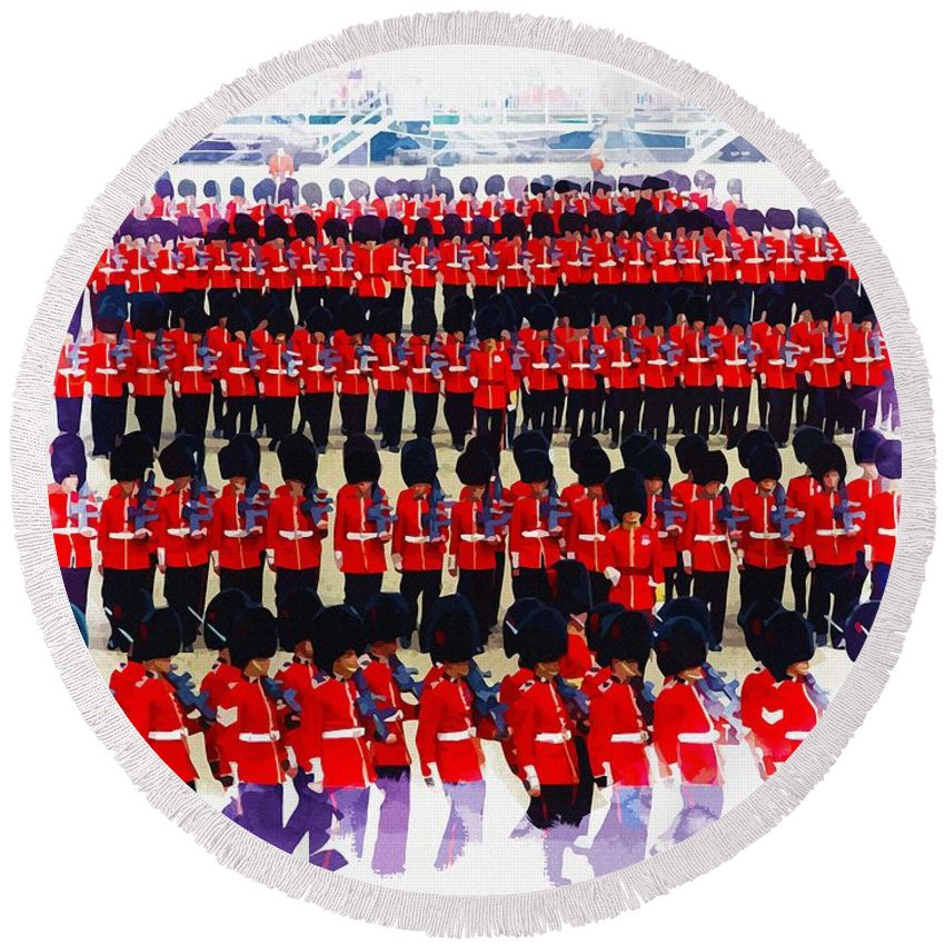 London Round Beach Towel featuring the digital art Trooping The Colour by Don Kuing