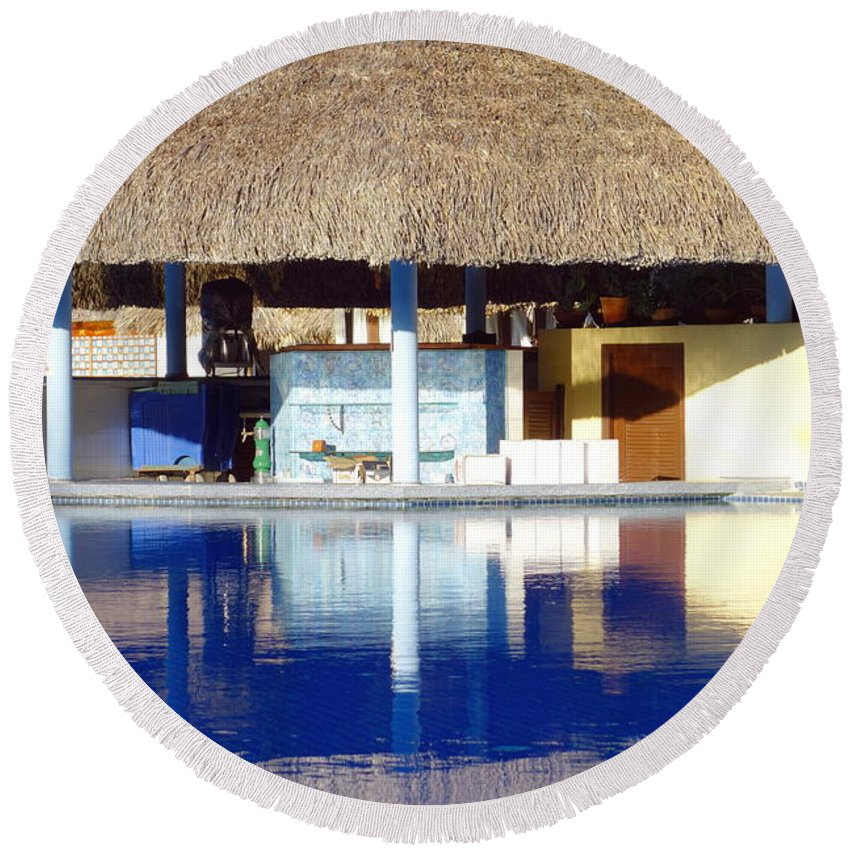 Tropical Round Beach Towel featuring the photograph Tropical Bar by Valentino Visentini