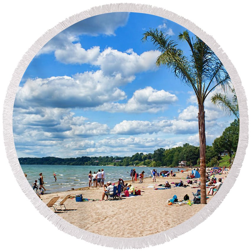 Port Dover Round Beach Towel featuring the photograph Tropical Beach In Port Dover by Barbara McMahon