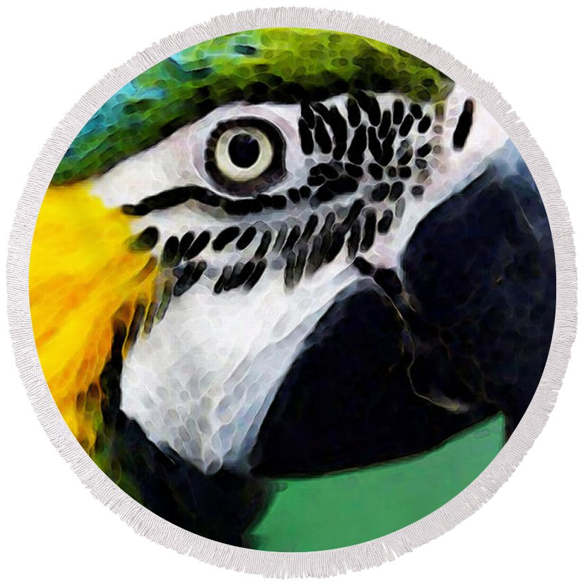 Macaw Round Beach Towel featuring the painting Tropical Bird - Colorful Macaw by Sharon Cummings