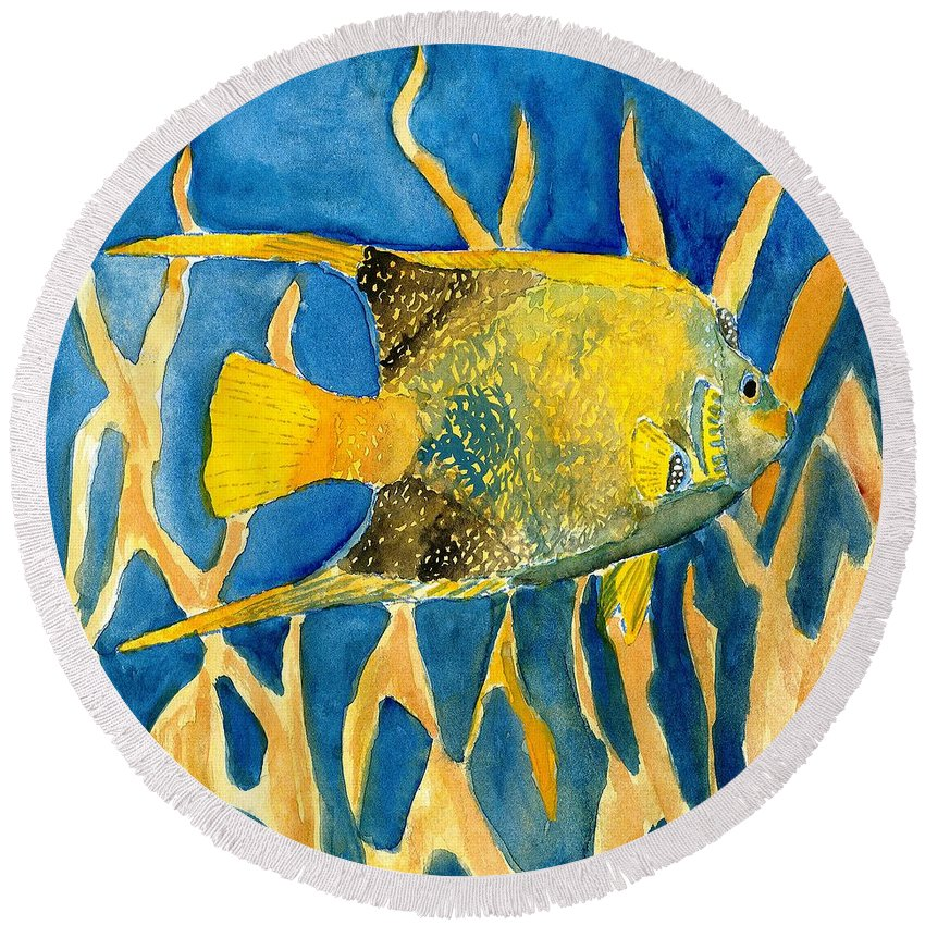 Tropical Round Beach Towel featuring the painting Tropical Fish Art Print by Derek Mccrea