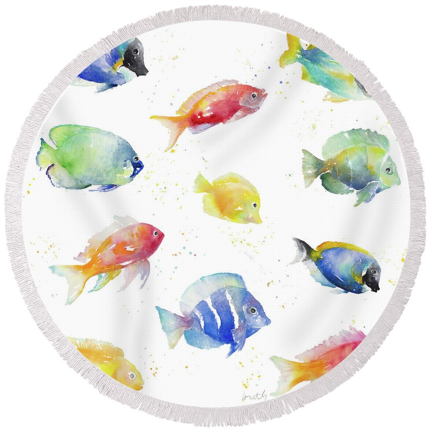 Tropical Round Beach Towel featuring the painting Tropical Fish Round by Lanie Loreth