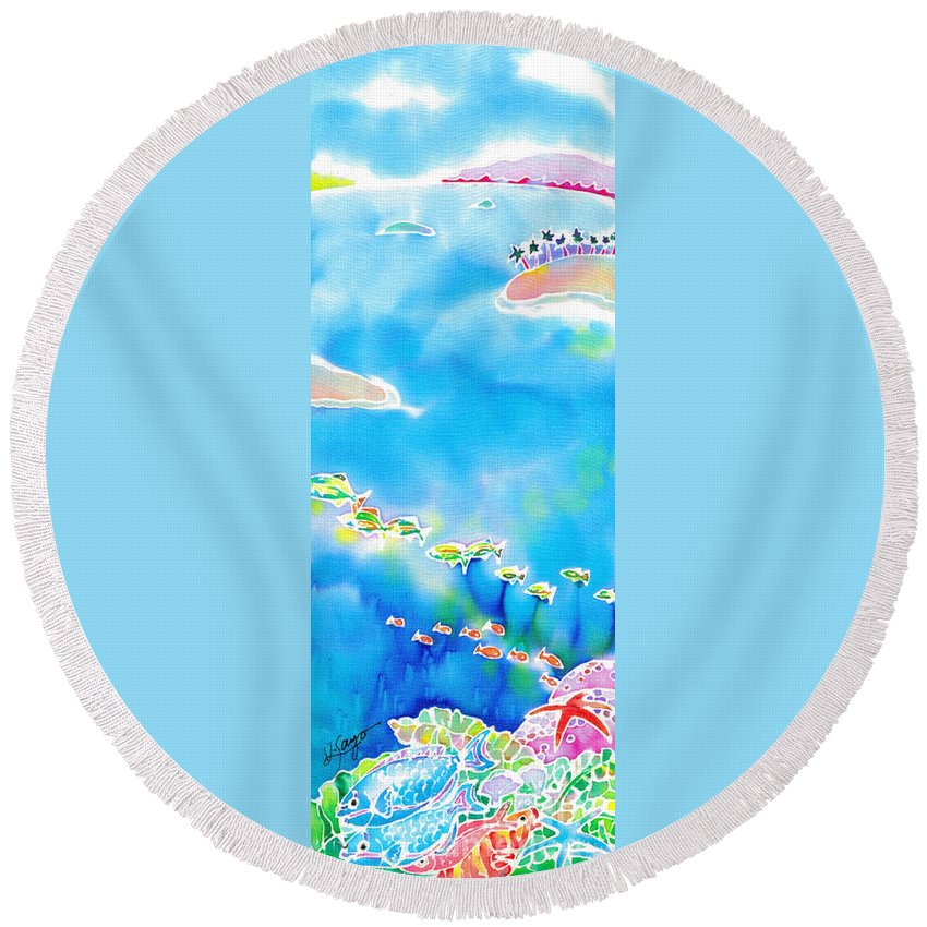 Okinawa Round Beach Towel featuring the painting Tropical Fishes by Hisayo Ohta