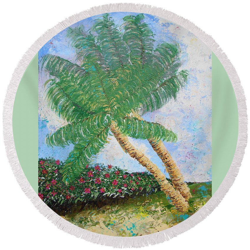 Tropical Round Beach Towel featuring the painting Tropical Flair by Margaret Bobb