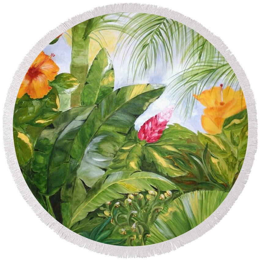 Tropical Round Beach Towel featuring the painting Tropical Garden by Graciela Castro