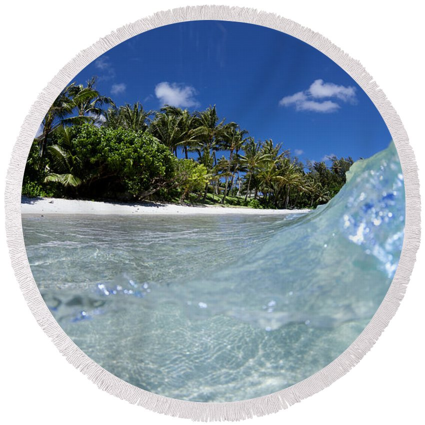 Kawela Bay Round Beach Towel featuring the photograph Tropical Glass by Sean Davey