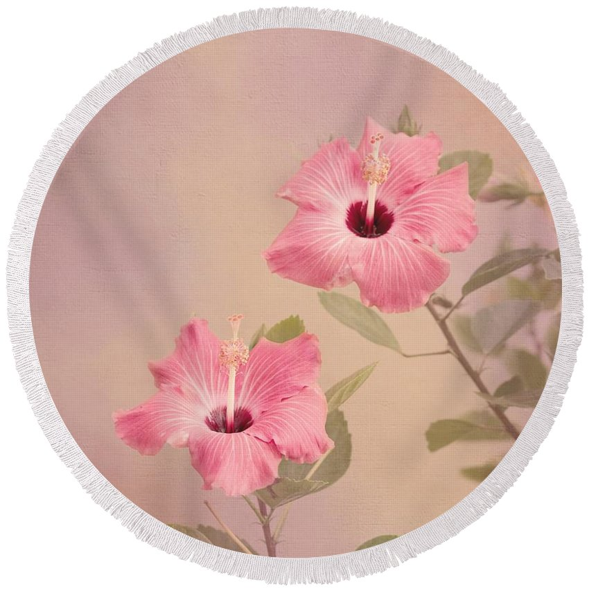 Pink Flower Round Beach Towel featuring the photograph Tropical Hibiscus by Kim Hojnacki