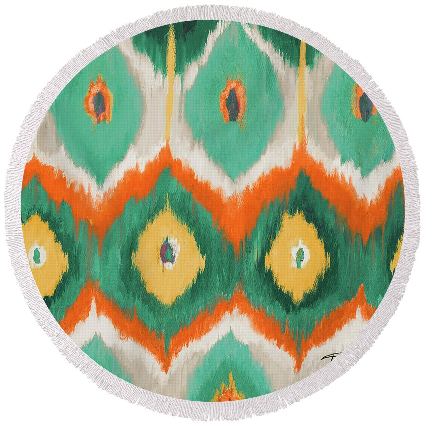 Tropical Round Beach Towel featuring the painting Tropical Ikat II by Patricia Pinto