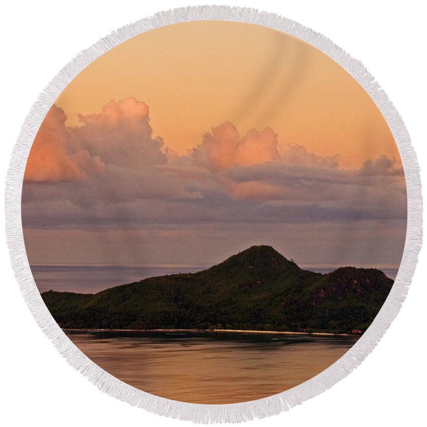 Seychelles Round Beach Towel featuring the photograph Tropical Island At Sunset by Tim Holt