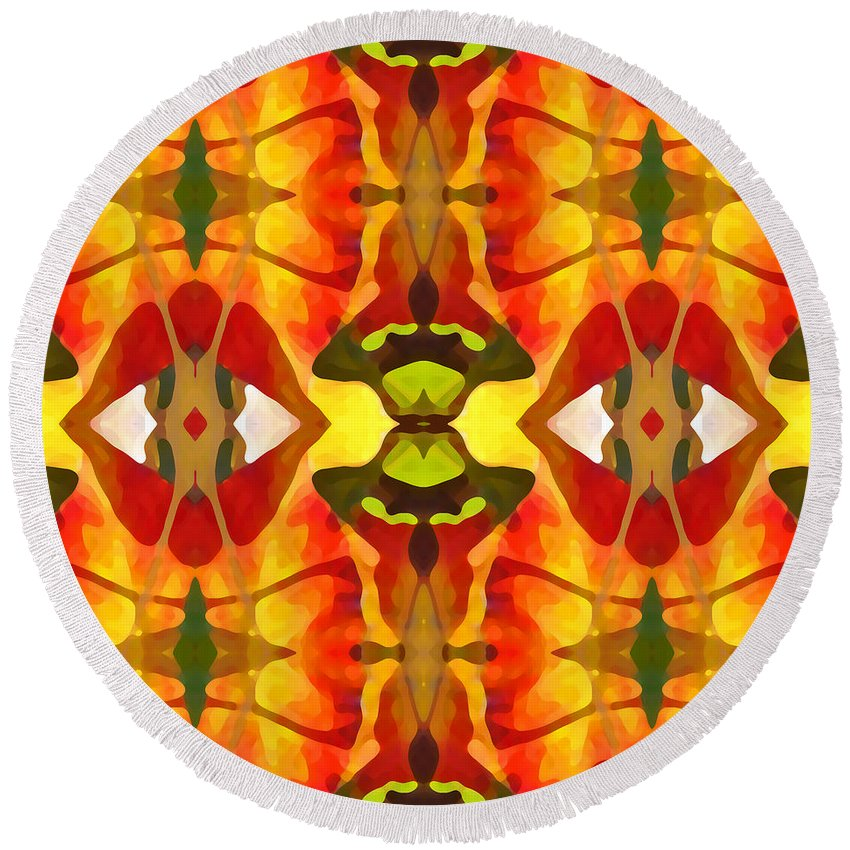 Abstract Round Beach Towel featuring the painting Tropical Leaf Pattern 4 by Amy Vangsgard