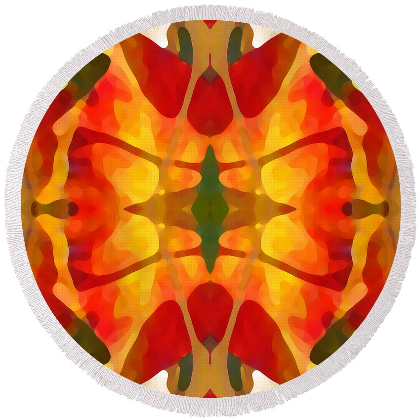 Abstract Round Beach Towel featuring the painting Tropical Leaf Pattern5 by Amy Vangsgard