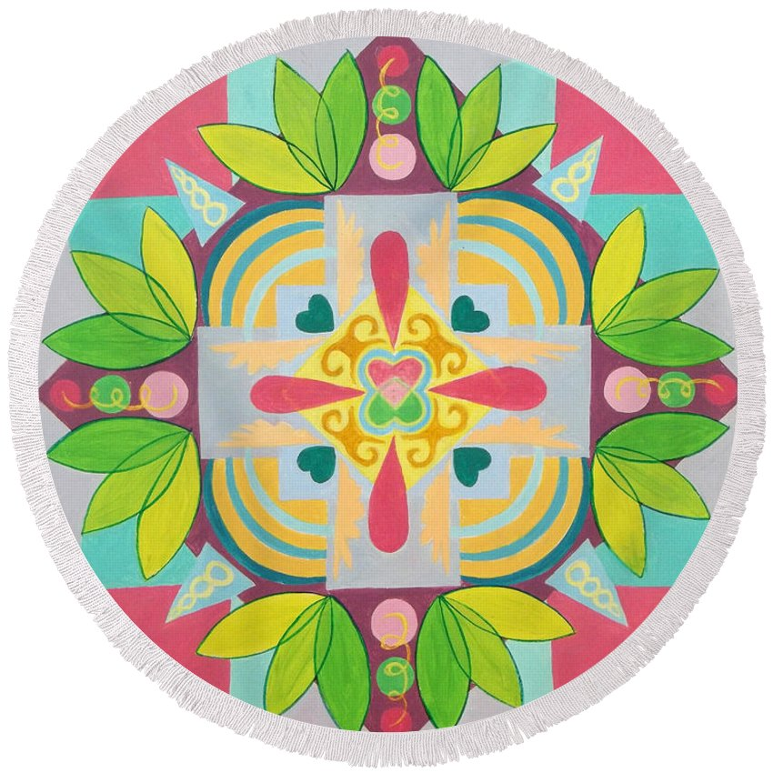 Tropical Round Beach Towel featuring the painting Tropical Mandala by Anne Cameron Cutri
