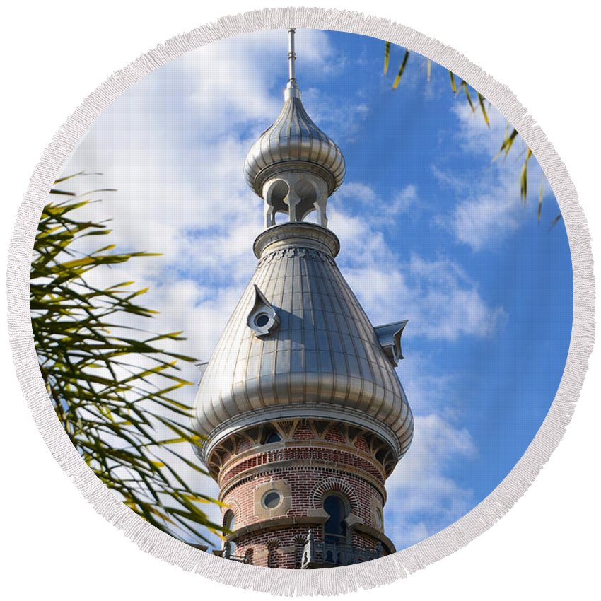 Minaret Round Beach Towel featuring the photograph Tropical Minaret by David Lee Thompson