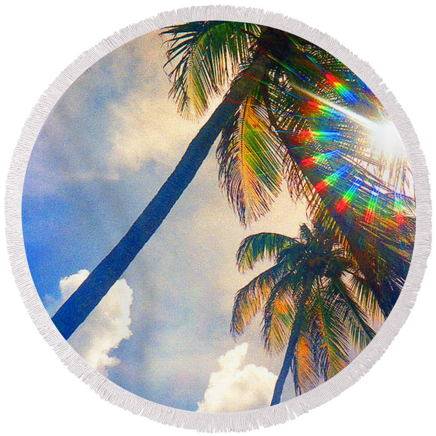 Palm Trees Round Beach Towel featuring the photograph Tropical Palms by Jerome Stumphauzer