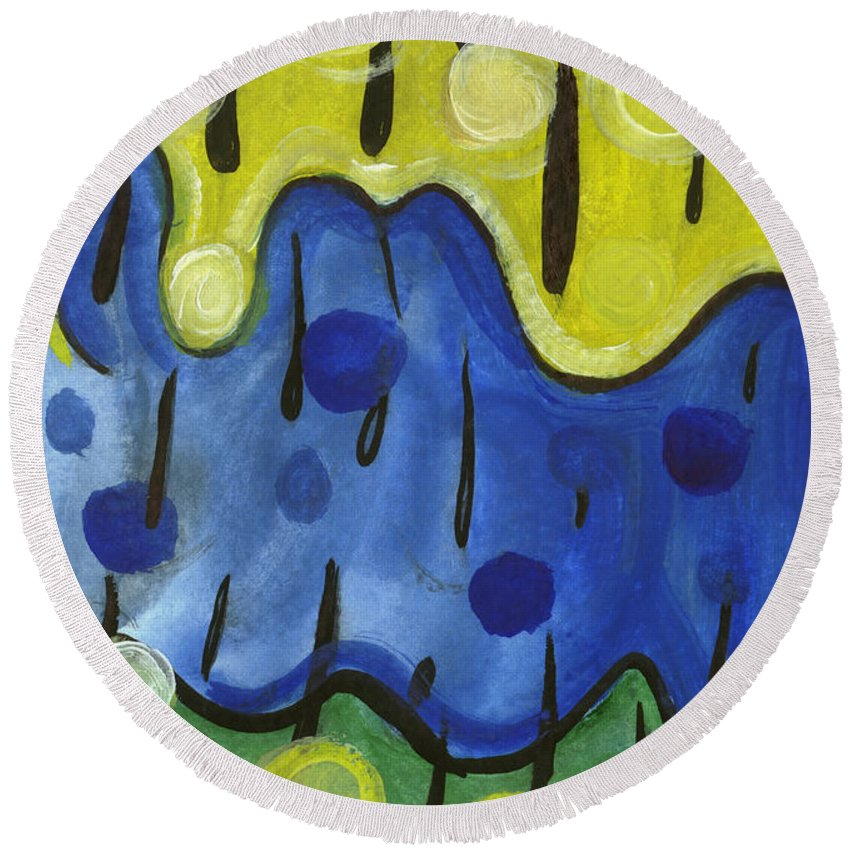 Abstract Art Round Beach Towel featuring the painting Tropical Rain by Stephen Lucas