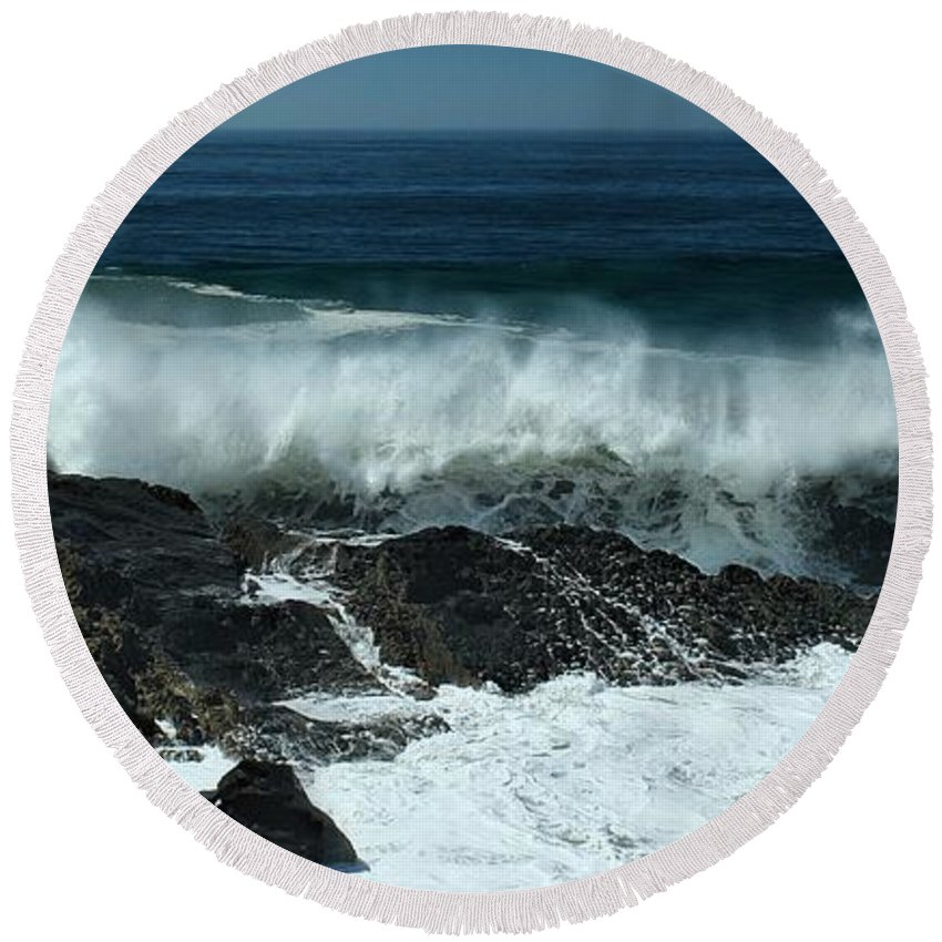 Hurricane Round Beach Towel featuring the photograph Tropical Storm Marie by Michael Gordon