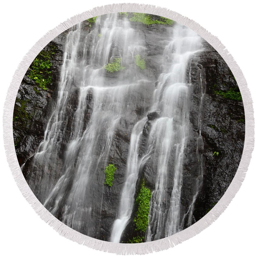 Waterfalls Round Beach Towel featuring the photograph Tropical Torrents by James Brunker